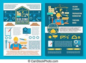 здание, плакат, строительство, вектор, главная
