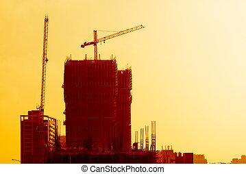 здание, промышленные, закат солнца, сайт