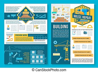 здание, ремонт, плакат, дизайн, главная, строительство