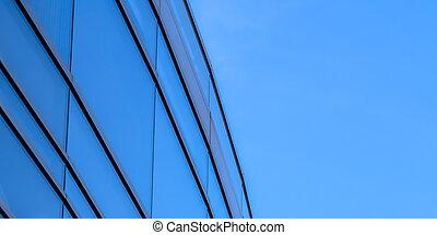 здание, синий, вибрирующий, современное, небо, против, экстерьер