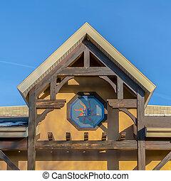 здание, синий, квадрат, яркий, солнечно, чисто, небо, против, деревенский, фасад, день