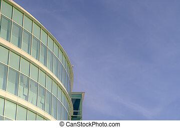 здание, синий, небо, современное, солнечно, против, день