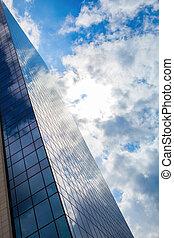 здание, синий, офис, sky., современное, против, стакан, облачный, smoked