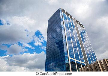 здание, синий, современное, небо, отражение