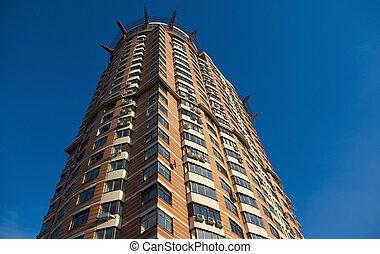 здание, синий, современное, небо, против, строительство, задний план