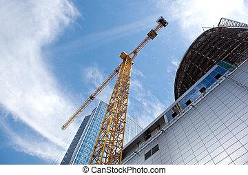 здание, синий, современное, небо, против, строительство, под
