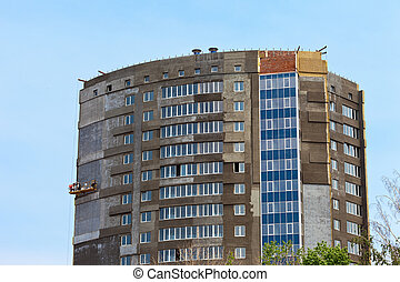 здание, синий, современное, небо, против, строительство