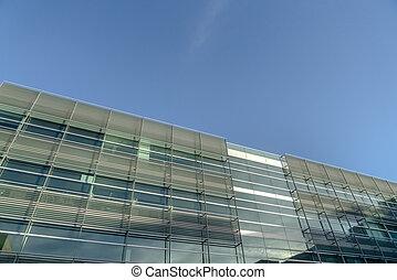 здание, синий, современное, небо, против, фасад