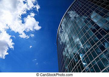 здание, синий, современное, небо, стакан, фасад