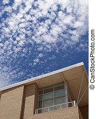 здание, синий, современное, небо