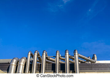 здание, синий, яркий, небо, pipes, металл, против