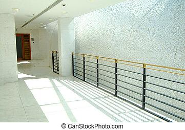 здание, современное, коридор, офис