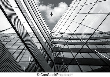 здание, современное, угол, над, летающий, архитектура, самолет, посмотреть, низкий