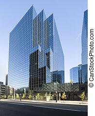 здание, стакан, современное, офис