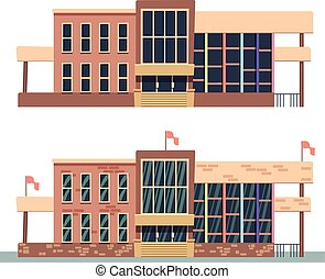 здание, школа, белый, задний план