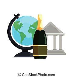 здание, школа, шампанское, земной шар