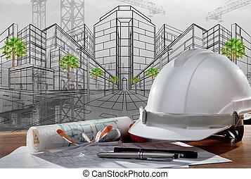 здание, шлем, безопасность, место действия, pland, дерево, архитектор, файл, таблица, строительство, закат солнца
