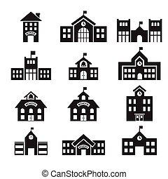 здание, 411school, значок