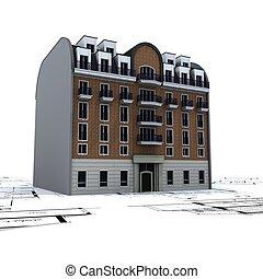 здание, blueprints, жилой, вверх, 2, архитектор