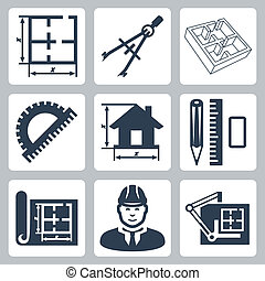 здание, compasses, designer, icons, макет, линейка, план, вектор, дизайн, protractor, set:, пара, ластик, рисование, карандаш, доска