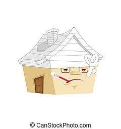 здание, isolated., дом, больной, мультфильм, вектор, больной, термометр, главная, bandaged, style.