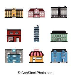 здание, vector., иллюстрация, icons