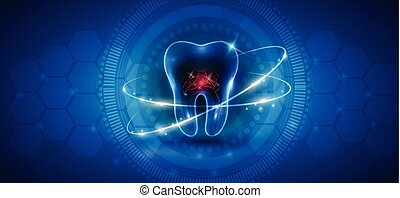 здоровый, абстрактные, зуб, лечение, значок
