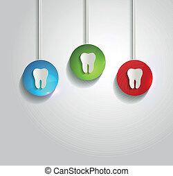 здоровый, белый, символ, задний план, зуб