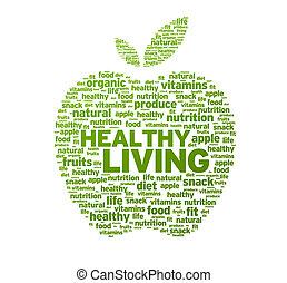 здоровый, живой, яблоко, иллюстрация