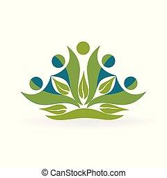 здоровый, логотип, вектор, природа, люди