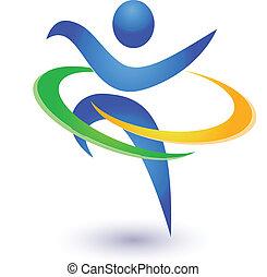здоровый, логотип, вектор, счастливый