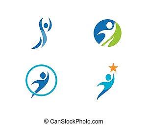 здоровый, логотип, жизнь, вектор