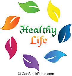 здоровый, логотип, жизнь, leafs, красочный