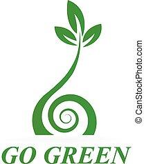 здоровый, логотип, зеленый, значок