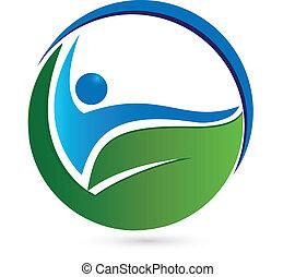 здоровый, логотип, концепция