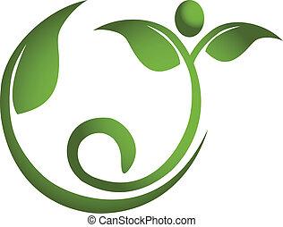 здоровый, логотип, люди, лист, фитнес