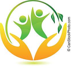 здоровый, логотип, счастливый, люди