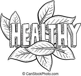 здоровый, питание, эскиз