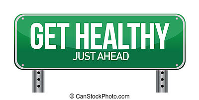 здоровый, получить, зеленый, дорога, знак
