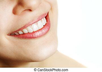 здоровый, улыбка, женщина, свежий, teeth