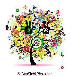 здоровый, энергия, дерево, дизайн, травяной, ваш