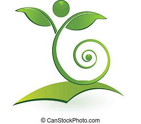 здоровый, swirly, человек, лист, логотип