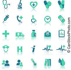 здоровье, медицинская, забота, зеленый, icons