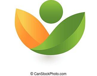 здоровье, leafs, логотип, зеленый, природа