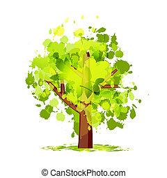 зеленый, абстрактные, дерево, ваш, дизайн