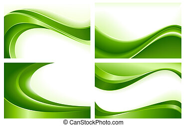 зеленый, абстрактные, backgrounds, 4, волна