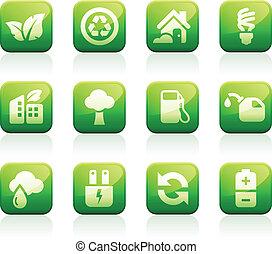 зеленый, глянцевый, icons