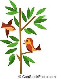 зеленый, дерево, два, birds