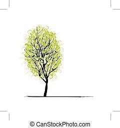зеленый, дизайн, дерево, молодой, ваш