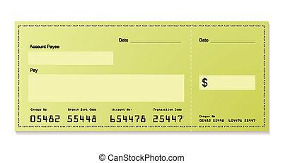 зеленый, доллар, cheque